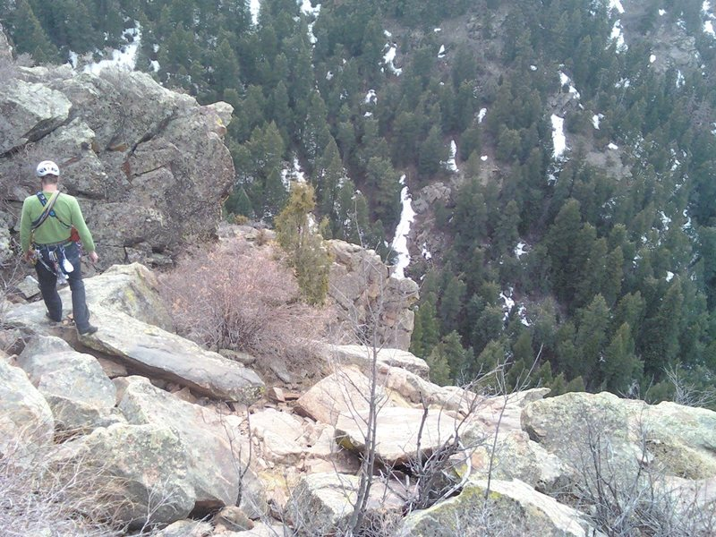 New 1/2 Metolius bolts and hangers at bottom of cedar tree.  Serves as the last anchor on Lover's Leap route, and a short scramble toward the cross from the Original Route.