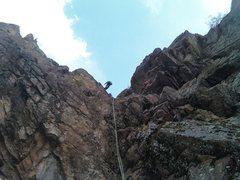 Rock Climbing Photo: TJ raps from last station