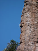 Rock Climbing Photo: DAS's new route in the Glitter Box Area, as seen f...