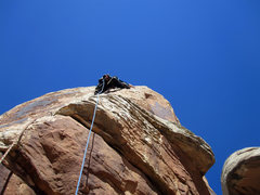 Rock Climbing Photo: Me heading up on lead to finish drilling.