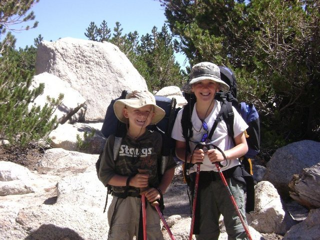 Boys hiking in to Cottonwood Lake #3 in 2007.