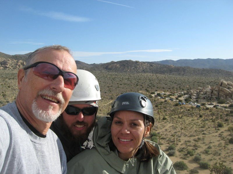 ROWCC Club Trip 4-9 to 4-11 2010.<br> Ten in a day trip.<br> Myself, Nathan and Agina climb @POUND@10 SW Corner Headstone Rock