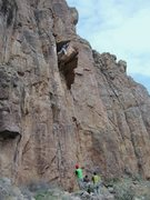 Rock Climbing Photo: Mr. Stan warming up for a day at Shelf :)