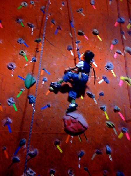 My 4yr old climbing in the gym