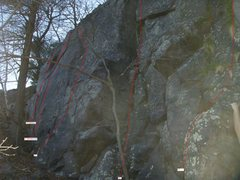 Rock Climbing Photo: South End of Dark Wall with route markings