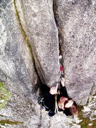 Rock Climbing Photo: Annie Simard jamming up Squatters Rights