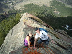 Rock Climbing Photo: Tony Maul and Andi on First Flatiron.  Sunday Apri...