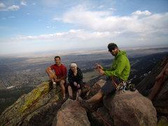 Rock Climbing Photo: John, Elise, and Timmy on First Flatiron tippy top...
