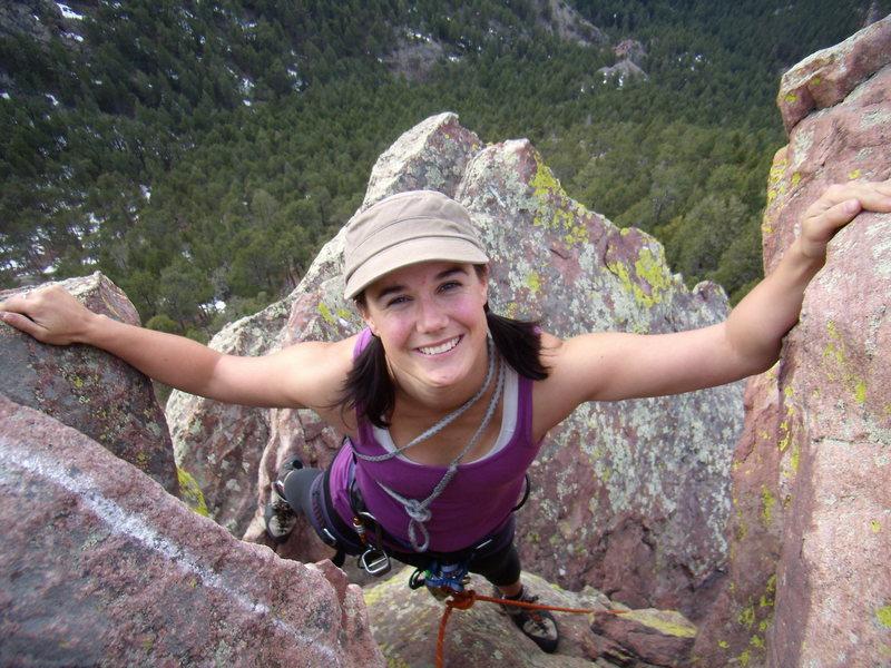 Rock Climbing Photo: Andi, last moves, First Flatiron.  April 11 2010