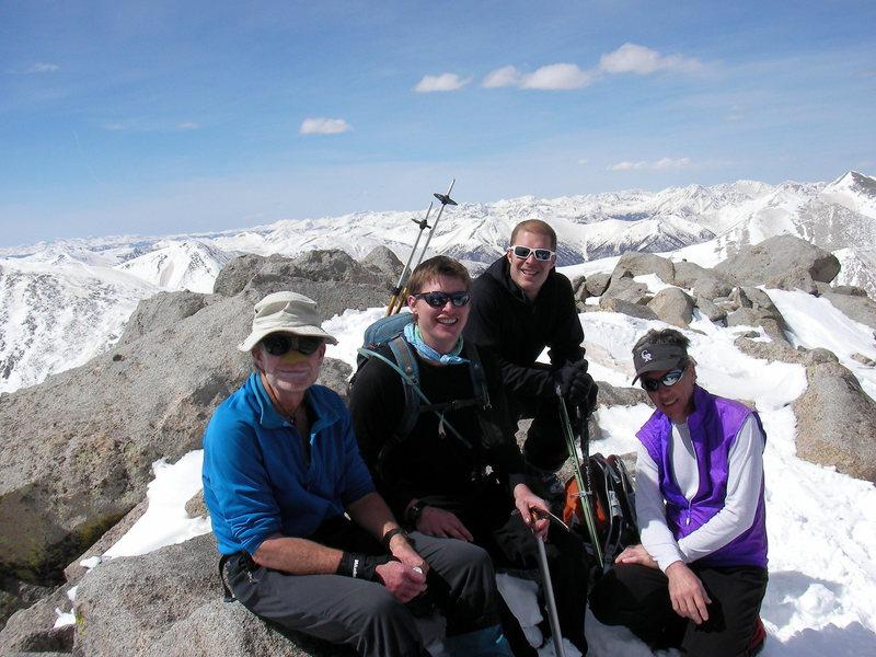 A happy crew on top of Mt. Shavano.  Ken, Micah, myself and Jim.  Photo by: Erik L