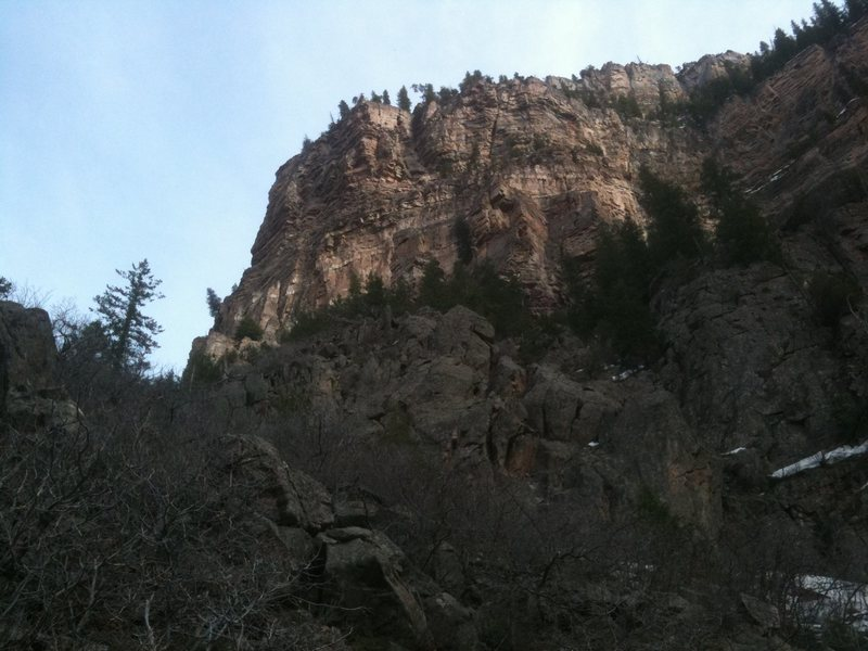 Rock Climbing Photo: Unknown tower in Glenwood Canyon, visible in the c...
