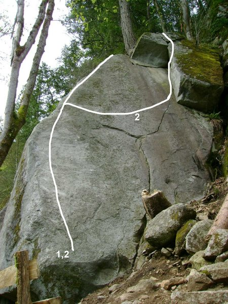 Rock Climbing Photo: 1. Midget Love 5.12a/b 2. Big Love 5.12b