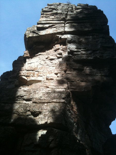 Looking up at the Unknown Tower from the saddle. The Saddle/West Face route goes left on to the west face.