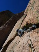 Rock Climbing Photo: Mark B leading the horizontal. Beware of the loose...