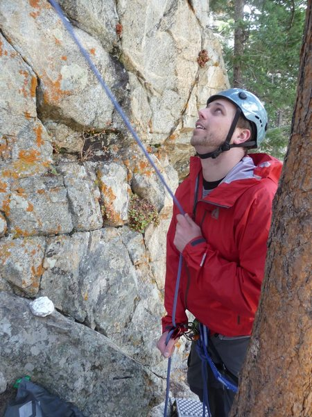 belaying at don't start me up, solaris crag