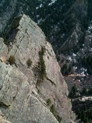 Rock Climbing Photo: Straddling the aerate on the last pitch of Yellow ...