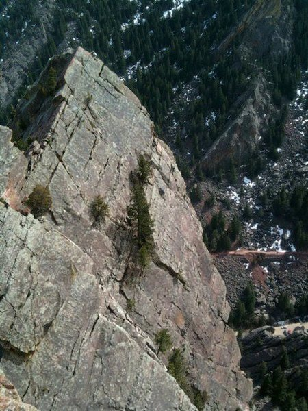 Rock Climbing Photo: Me getting friendly with the arete on the last pit...
