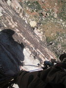 Rock Climbing Photo: Barefoot belay. Check out the exposure!