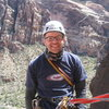 At the belay on the 5th and final pitch! Check that big grin!