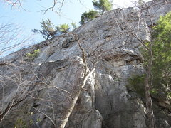 Rock Climbing Photo: Start of Le Gourmet.  Ramp leading up left to the ...