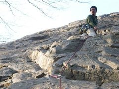 Rock Climbing Photo: A picture of me checking on my first placement.