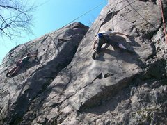 """Rock Climbing Photo: Nick on """"Scrotum"""" just before the crux."""