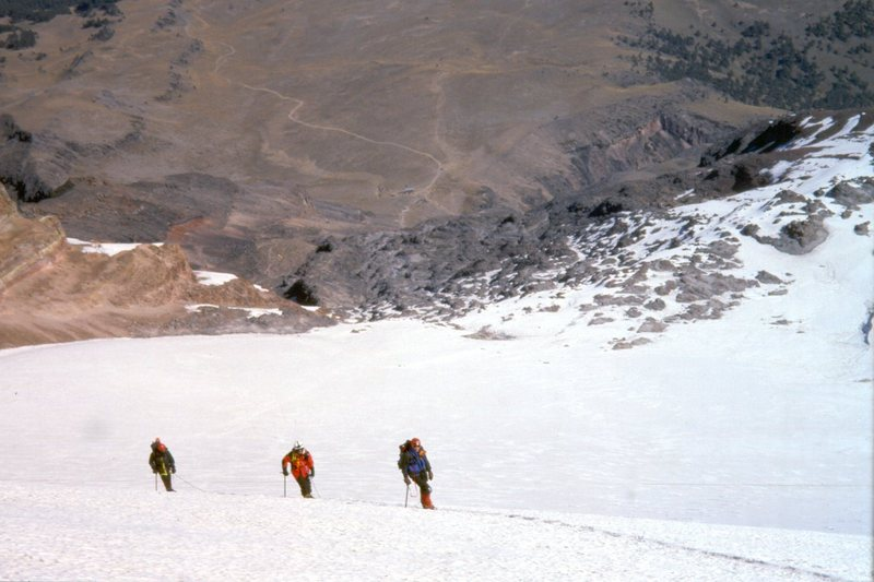 Ascending the Jamapa Glacier with Piedre Grande in the distance.