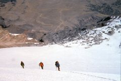 Rock Climbing Photo: Ascending the Jamapa Glacier with Piedre Grande in...