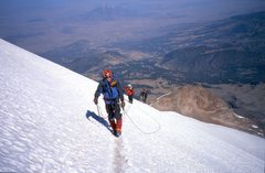 Rock Climbing Photo: Following the boot track up through the thinning a...