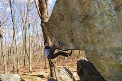 Rock Climbing Photo: Me setting up for the finish of the executioner