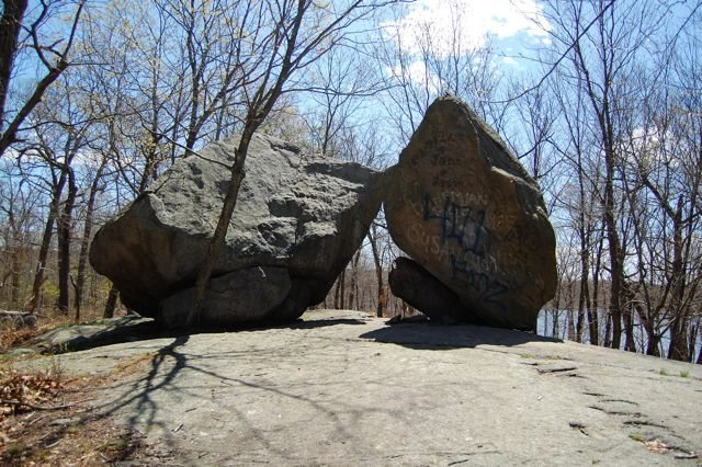 The peace dove boulders, Peace Dove follows the right arete to the top.