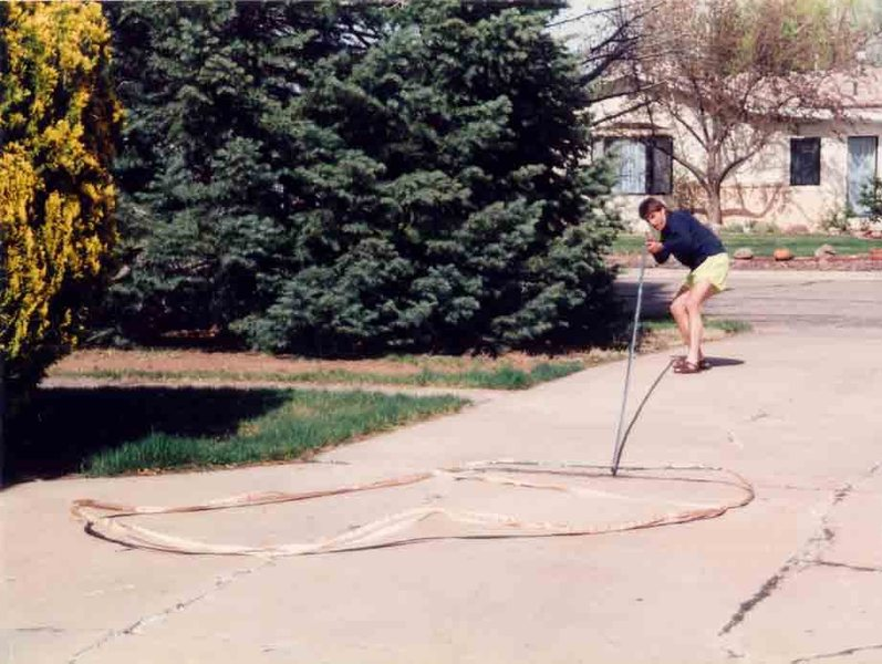 Rock Climbing Photo: lining up the hoopstick in los alamos