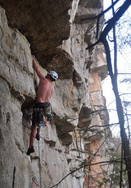 Rock Climbing Photo: Into the overhangs. Photo by Tricia