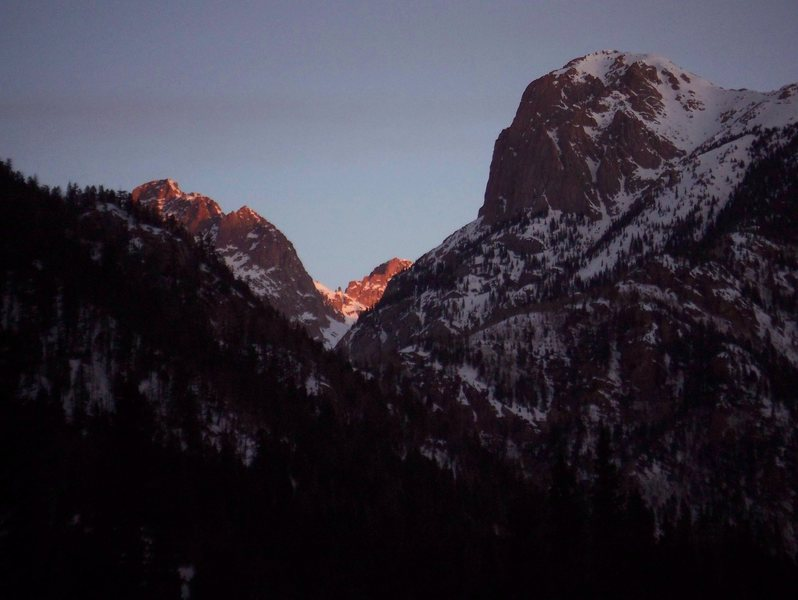 Sunset the first night on Echo peak.