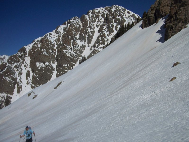 Rock Climbing Photo: Andy skinning with Mt. Irving behind.