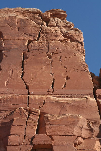 West Face of North Six Shooter. Climb the crack right of the OW, then go out right and diagonally up-