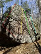 Rock Climbing Photo: Red Line - A Cheval V0- Yellow Line - Pine tree Cr...
