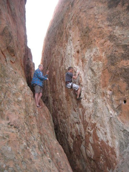 Top rope, nice ledge to belay off of.