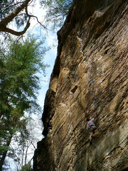 Rock Climbing Photo: Scott on Bandolier, RRG, KY.