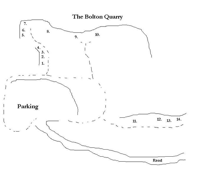 Bolton Quarry Parking Lot and Route Guide:<br> <br> 1. Happy 5.9<br> 1.5 Anxious 5.11+ (direct finish to Grumpy - not shown)<br> 2. Grumpy 5.11<br> 3. Dopey 5.9<br> 4. Duckling 5.2<br> 5. Wandering the Halls – 5.8+<br> 6. Playground Bully – 5.9+<br> 7. Anything for an 'A' 5.7+<br> 7.5 Sweet Sweet Choss 5.10a (not shown)<br> 8. Second Thoughts 5.10a<br> 9. Collateral Daveage 5.11a<br> 10. Junior's First Bolt 5.10a<br> 11. It's Only Interment 5.11a<br> 11.5 Eye of the Cougar 5.12b/c (direct finish to @POUND@11 - not shown)<br> 12. Pussy Galore 5.10b<br> 13. The Cat's Ass 5.11d <br> 14. Off Night 5.12a