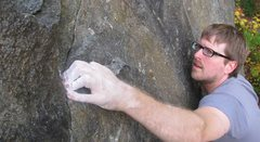 Rock Climbing Photo: Colin Rickert crimps down on the crux of Anxious, ...