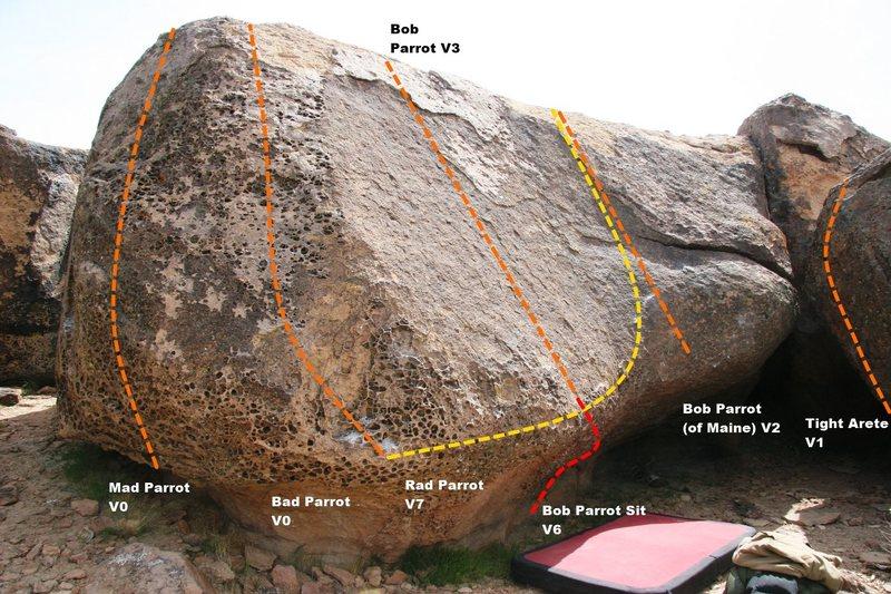 Sad Parrot Boulder West Face Topo