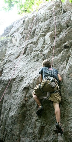 """Rock Climbing Photo: Bill on """"Cheese and Crackers"""" 5.8"""