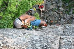 Rock Climbing Photo: Collin topping out on one of the far left unkown s...