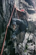 "Rock Climbing Photo: Myself on ""Satan's Camaro"" 5.12a/b"