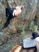 Rock Climbing Photo: Mike Williams finding a break.
