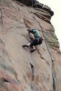 Rock Climbing Photo: Roman getting wild on middle trinity