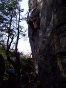 "Rock Climbing Photo: Mike starting ""Fine Wine"""