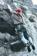 "Rock Climbing Photo: Myself pulling the top crux of ""Flying Gumbie..."