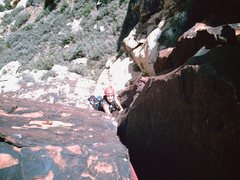 Rock Climbing Photo: JU near the top of pitch #2